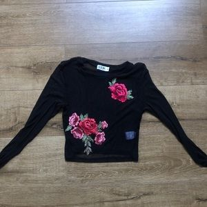 LF Black Top with rose- new